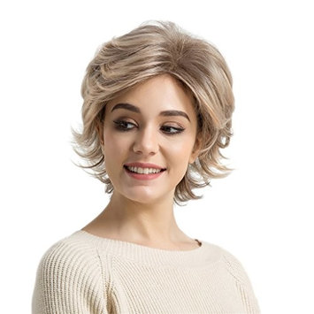 Homyl Blonde Short Fluffy Wig Synthetic High Temperature Fiber for Cosplay Party Use with Wig Cap