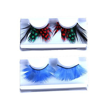 Ottery 2 Pair False Eyelashes Lengthen Colorful Feather Eye Lashes Party Dance Halloween Costume