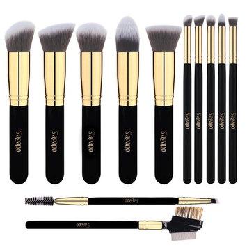 Premium Makeup Brush Set, 12pcs Cosmetic Brushes for Foundation Blending Blush Eyebrow Concealer Eye Shadow, Metal Eyelash Comb Included, Cruelty Free Synthetic Fiber Bristles Golden Black