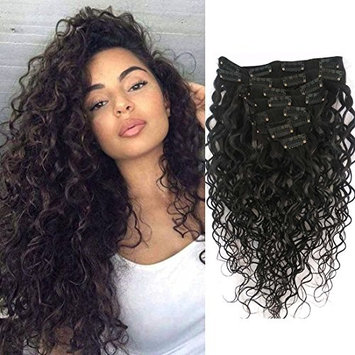 Doren Deep Curly Clip In Human Hair Extensions for Women 8Pcs 20Clips 120g 8A Virgin Remy Brazilian Wavy Curly Hair Natural Color 20 Inches
