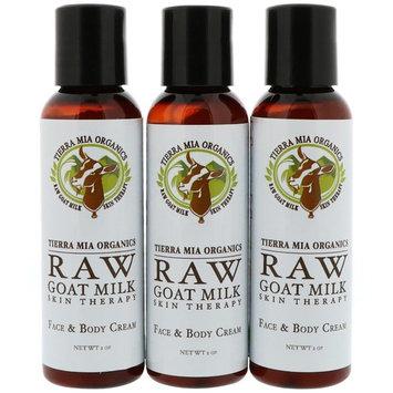 Tierra Mia Organics, Raw Goat Milk Skin Therapy, Face & Body Cream, Lemon Verbena + Coconut + Patchouli, 3 Bottles, 2 oz (56 g) Each [Scent : Lemon Verbena + Coconut + Patchouli]