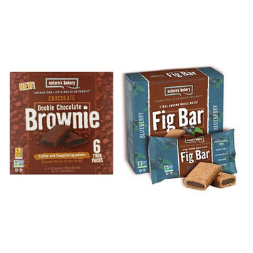 Nature's Bakery Non-GMO Stone Ground Whole Wheat Fig Bar Cookies and Double Chocolate Brownies Variety Bundle, 12 Oz. Ea. (2 Boxes)