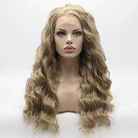 Lace Front Synthetic Wig Curly Long Blonde Mix Multi Color Wigs Half Hand Tied Heat Friendly Wigs