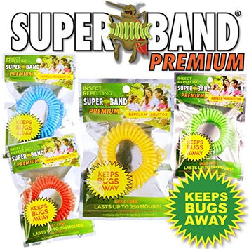 2016 Insect Repelling SUPERBAND PREMIUM Wristband in New Assorted Colors! Red, Blue, Green, and Yellow - New Green Packaging! (100 Pack)