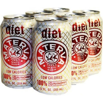 Materva Diet soda. 12 oz. cans. 6 pack