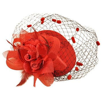 SODIAL(R) Hair Clip Headband Pillbox Hat Bowler Feather Flower Veil Wedding Party Hat red