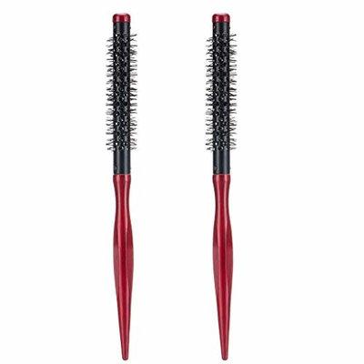 Homyl 2Pcs/Set Small Mini Round Hair Brush Heat Resistant Nylon Bristles, Short Hair Blow Drying Styling Roll Hairbrush 11mm 12mm