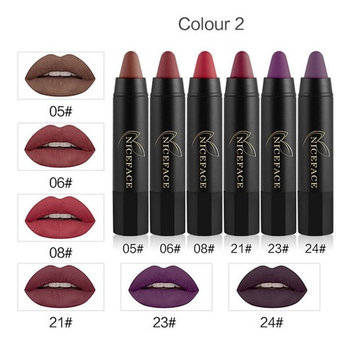 Waterproof Matte Hydrating Lipstick Hosamtel 6Pcs Sexy Long-lasting Velvet Matte Color Pencil Lipstick Crayon Sexy Lip Gloss Makeup Set