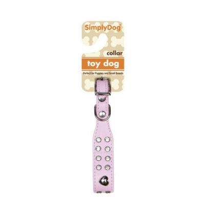 Simplydog Dog Heart Rhinestone Collar, Pink, (X-Small)