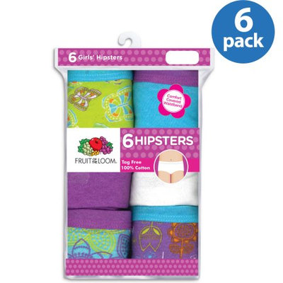Fruit of the Loom Girl's Cotton Hipster Underwear (Pack of 6), 4, Multi