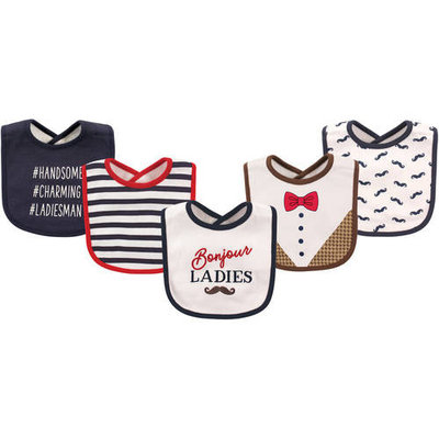 Hudson Baby Boy and Girl Cotton/Terry Drooler Bib, 5-Pack - Bonjour