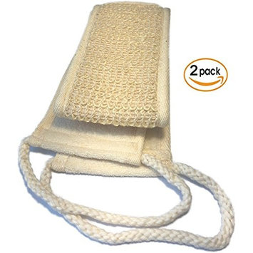 2 PACK Natural Exfoliating Sisal Back Scrubber for Shower for Men and Women - Deep Clean & Invigorate Your Skin