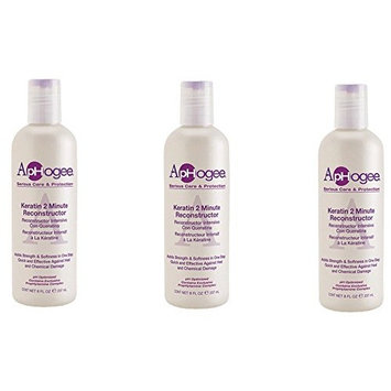 [VALUE PACK OF 3] APHOGEE KERATIN 2 MIN RECONSTRUCTOR 8oz pH OPTIMIZED: Beauty