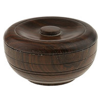 Dovewill Premium Brown Wooden Shaving Bowl Mug Shave Brush Soap Cream Beard Shaver Holder Cup