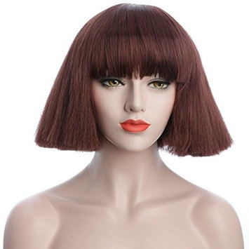 karlery 8 inches Blonde and Brown Short Straight Wigs with Bangs