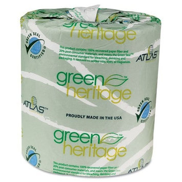 Atlas Paper Mills - Green Heritage Bathroom Tissue, 2-Ply, 500 Sheets, White, 96 per Carton - Sold As 1 Carton - Soft and absorbent.
