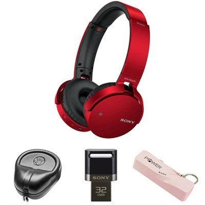 Sony XB Series Wireless Bluetooth Headphones w/ Extra Bass-Red w/ Flash Drive Bundle
