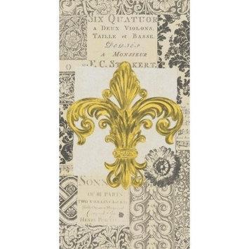 Ideal Home Range 16-Count 3-Ply Paper Guest Towel Napkins, Gold Fleur de Lis