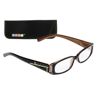 Select-A-Vision Deco Trendy Reading Glasses, Full Plastic Frame w/Design, Brown, 2.00