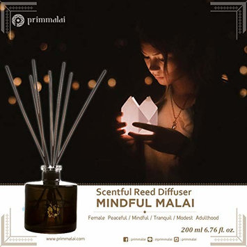 Primmalai Luxury Reed Diffuser Mindful Malai – Natural & Fresh - Long Lasting - True Essential Oils