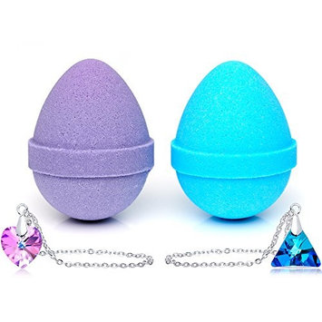 Easter Egg Bath Bombs with Necklaces Created with Swarovski Crystals 2 Pack Made in USA