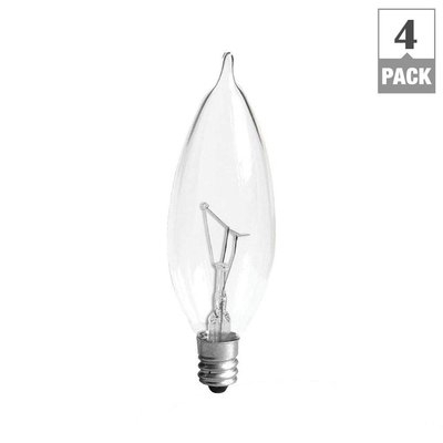 GE Lightbulbs 40-Watt Incandescent CA10 Bent Tip Decorative Candelabra Base Double Life Clear Light Bulb (4-Pack) 40CAC2L/CLTP4/12