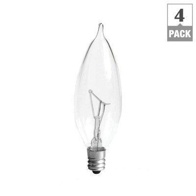 GE Lightbulbs 40-Watt Incandescent CA10 Bent Tip Decorative Candelabra Base Double Life Clear Light Bulb (4-Pack) 40CAC2L/CLTP4/12