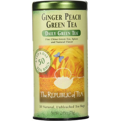 The Republic of Tea - Daily Green Tea Ginger Peach - 50 Tea Bags