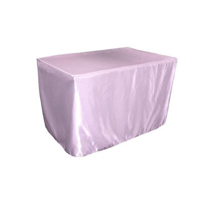 LA Linen TCbridal-fit-48x30x30-LilacB45 Fitted Bridal Satin Tablecloth Lilac - 48 x 30 x 30 in.