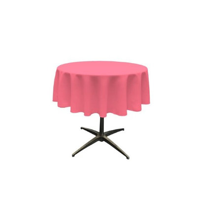 LA Linen TCpop51R-HotPinkP38 Polyester Poplin Tablecloth Hot Pink - 51 in. Round