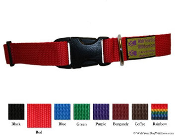Walk Your Dog With Love Colorful Quality Dog Collars, Original Edition, Sizes For Any Dog, Super Red