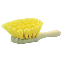 Weiler 79120 8 Utility Scrub Brush, Yellow Polypropylene Fill, Short Handle, Foam Block
