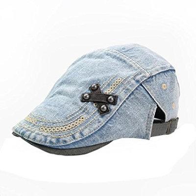 Sport Cap, HP95(TM) Mens Women Vintage Denim Beret Cap Peaked Newsboy Sunscreen Hat (Light Blue)