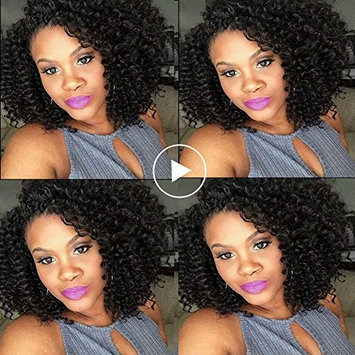 UDU Brazilian Jerry Curly Hair 4 Bundles 50g/pc Short Brazilian Curly Hair Bundles Afro Curl Bundle Deals Brazilian Kinkys Curly Hair Jerry Curls Weave Human Hair...