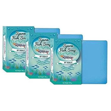 1 Pcs x Sperm Fish Soap, Skin Whitening Lightening Bleaching 100g .