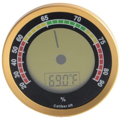 Cigar Oasis Caliber 4R Gold Digital/Analog Hygrometer by Western Humidor