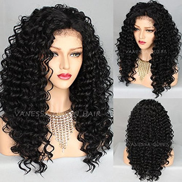 Vanessa Queen Long Curly Hair Wigs For Black Women 180 Density Synthetic Lace Front Wig with Baby Hair (24 Inch Curly)
