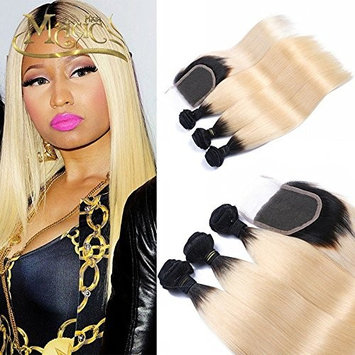 Ombre Blonde Human Hair Extensions 3 Bundles with Lace Closure 1B/613 Color Brazilian Virgin Hair Silk Straight Dark Roots Hair For Women (12 14 16...