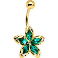 Body Candy Gold PVD Steel Green Accent Holiday Hibiscus Flower Belly Ring