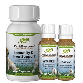PetAlive AmazaPet, Immunity & Liver Support and PetCalm UltraPack