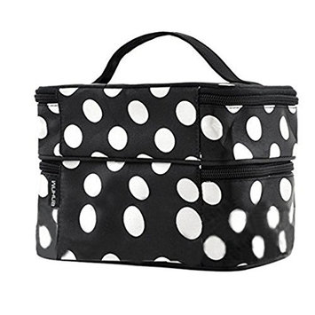 Mintbon Make-up Bag, Dot Pattern Travel Toiletry Cosmetic Makeup Bag Double Layer Cosmetic Hand Bag Travel Makeup Case Portable Brush Bag For Cosmetics Toiletries Home Bathroom(Black)