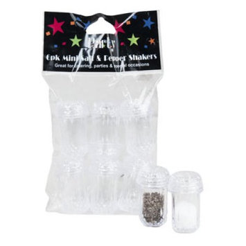 Dollaritemdirect SALT AND PEPPER MINI SHAKERS PLASTIC CRYSTAL LIKE LOOK 6PK, Case Pack of 36