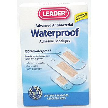 Leader Advanced Antibacterial Waterproof Adhesive Bandages, Assorted Sizes, 20 Count Per Box (6 Boxes)