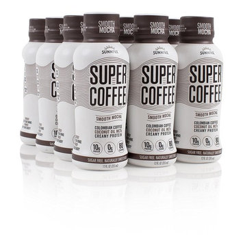 SUNNIVA Super Coffee Smooth Mocha NEW Sugar-Free Formula, 10g Protein, Lactose Free, Soy Free, Gluten Free, Pack of 12