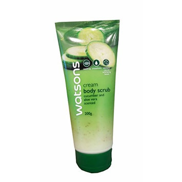 Watsons Cucumber and Aloe Vera Scented Cream Body Scrub. Soothing, Smoothens, Contains natural exfoliating beads. (200 g/pack).