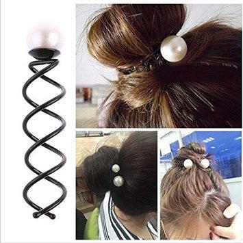 Braceus Faux Pearl Hairpin Spiral Hair Side Clip Women Girl Headwear Accessories size L
