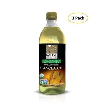 Native Harvest Organic Non-GMO Naturally Expeller Pressed Canola Oil, 1 Litre (33.8 FL OZ) 3 Packs
