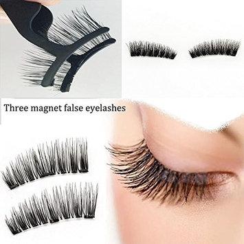 YUOIOYU Three Magnets Eyelashes 4Pcs Reusable Full Magnetic Lashes Natural Magnetic Eyelashes With Tweezer