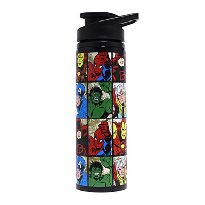 Silver Buffalo Marvel Heroes Grid Stainless Steel Water Bottle