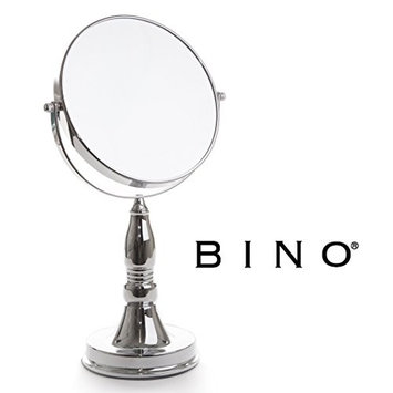 BINO 'The Scholar' 7.5-Inch Double-Sided Mirror with 5x Magnification, Satin Nickel